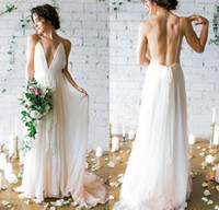 Wholesale Wedding Gown Chiffon Backless Flowing - 2017 Simple Deep V-neck Sweep Train Wedding Dresses With Straps Sex Flow Chiffon Backless Beach Bridal Gowns
