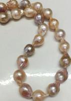 collares de perlas del mar del sur barroco al por mayor-11-14mm Real Natural South Sea Baroque lavanda collar de perlas de Akoya