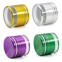 Wholesale Mills Diamonds - 63mm 4 layer aluminum herb grinder 2.5inch zinc alloy tobacco grinder with transparent bottom cover diamond teeth herbal spice mill grinder