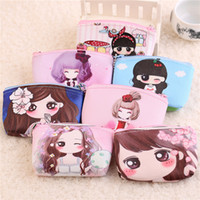 Wholesale Gifts Bags For Kids - Wholesale- New cartoon Coin Purse Kawaii Kids Wallet Girls Kids Money Bag Children Party Gift Leather Coin Purses For Female In Stock