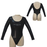 Wholesale Low Back Bodysuit - Women leotard Long Sleeve Thong Low Back NylonLycra Spotted Pattern Sexy Bodysuit Pole Dancing Leotard Top