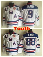 Wholesale Youth Olympic Hockey Jersey - Youth 2010 Olympic Team USA Hockey Jerseys #88 Patrick Kane Jersey Kids #9 Zach Parise Jersey White Navy Blue USA Boys Ice Hockey Jersey