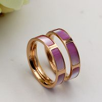 Wholesale Design Promotion Gift - Promotion New Design Top Quality 316L Titanium steel LOVER Ring with Colorful Shell rings for Rose Gold Free Shipping PS4350