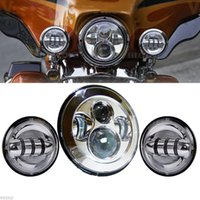 """Wholesale Motorcycle Touring - 1 set 7"""" LED daymaker Headlight high low beam + 4.5"""" 30w Aux Passing Light For Harley Motorcycle"""