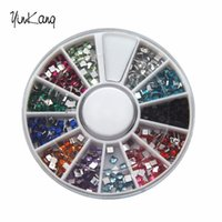 Wholesale Wholesale Nail Art Wheels - Wholesale- 12 Colors 3D Square 3mm Nail Decoration nail art Flatback Shiny Rhinestone DIY Nail Tips Wheel 4XHN