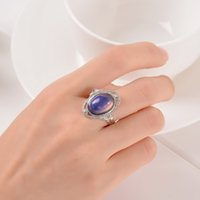 Wholesale Mood Changing Rings - Wholesale- Vintage Retro Color Change Mood Ring Oval Emotion Feeling Changeable Ring Temperature Control Color Rings For Women