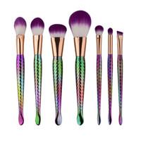 Wholesale Kit Brushes Set Aluminum - 30 sets  lot Mermaid makeup brush set 7 pcs set with purple nylon hair and plastich handle Aluminum tube DHL free