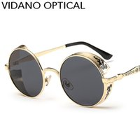 Vidano Optical Latest High Quality Luxury Fashion Round Steampunk gafas de sol para hombres mujeres gafas de sol últimas sombras de diseño UV400