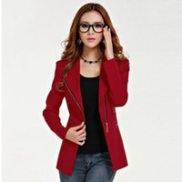 Wholesale Elegant Jacket Blazer - 2017 Elegant Office Lady Zipper Blazer Suit Polyester Formal Outwear Fashion Women Long Sleeve Slim Fit Lapel Jacket Tops Coat