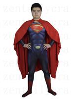 Wholesale Lycra Costume Superman - 3D Cut Superman Bodysuits Suits Printed Spandex Lycra Zentai Cosplay Halloween Party Costume