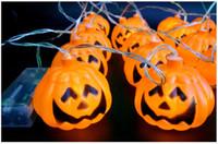 Wholesale Devil Light Headband - 3M 16pcs Pumpkin Halloween String Lights yellow color AA battery power Props Decorations Supplies Home Party Decor F