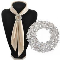 Wholesale Silk Scarf Clips - Wholesale- hot 2016 Fashion Jewelry Silver Rhinestone Alloy silk holder Scarf Clips Crystal Metal buckle Wedding Brooch Pins For Women Girl