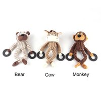 Wholesale bears sounds - Corduroy Dog Chew Sound Toys Solid Resistance To Bite Playable High Quality Funny Pet Toy Monkey Bear Pet Supplies 0704096