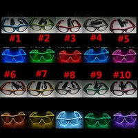 Wholesale Neon Led Dj - DHL 100pcs LED Party Lighting Glasses Kids Adult Gift EL Two-color Glowing Glasses Xmas Birthday Halloween neon party Bar DJ Led Sunglasses