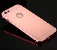 novo estojo rígido de metal alumínio venda por atacado-Novo estilo caixa de espelho caso moldura de alumínio + ultra slim metal case capa dura de volta para o iphone 7 4,7 polegadas luxo telefone móvel casey luxo phone case
