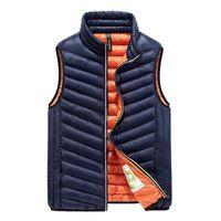 Wholesale Men Vest Outwear - Winter Vest Men Warm Waistcoat Outwear Waterproof Overcoat Light Portable Jacket Sleeveless Cotton Padded Large Size 2017 Good Quality