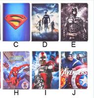 Wholesale Superhero Cases - Superhero Superman Batman Amazing Spiderman Flip PU Leather Case For ipad mini1233 ipad 234 Air 5 Samsung T530 T550