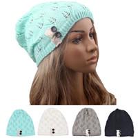 Wholesale Wholesale Knit Hats One Size - Wholesale-Women Berets Hot Lace Leaves Hollow Out Knitting Hat Unique design Cap One Size Lady