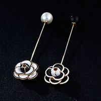 Wholesale Brand New Gps - Wholesale- New Brand 24K GP Enamel Camellia Flower Stick Pin Brooch Lady Pearl End Lapel Pin Jewelry Accessories Gift