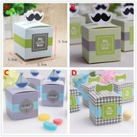 Wholesale Cute Baby Shower Favor Box - 50pcs set My little Man Cute Mustache Birthday Candy Box Boy Baby Shower Favor Boxes Wedding Favors Gifts Boxes