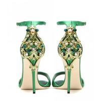 зеленые туфли на высоком каблуке оптовых-Новое Прибытие Марка Дизайнер Женщина Открытым Носком Кристалл Сандалии Платье Свадьба Обувь 2017 Супер Высокие Каблуки Зеленый Платье Обувь Zapatos Mujer