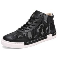Wholesale Trendy Lace Up Ankle Boots - Wholesale- 2016 New High Top Camouflage Men Shoes Fashion Leather Men Flats Lace Up Men's Leather Shoes Autumn Trendy Sapatos Masculino