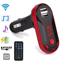 Wholesale Car Tf - Wholesale-Universal multi-function Bluetooth Wireless FM Transmitter MP3 Player Handsfree Car Kit USB TF SD Remote@11207@@@