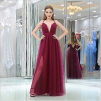 Wholesale Skirt For Young - V Neck Sexy Evening Dresses Long Simple Formal Party Gowns 2017 Prom Dresses A Line Tulle Skirt Cheap Dresses for Young Girls