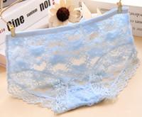 Wholesale Transparent Underwear For Girls - girls sexy lace panties underwear flower briefs for women calcinha lingerie perspective transparent mesh Net yarn