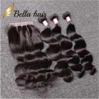 saç uzatma 24 inç toptan satış-Bella Hair® 8A Brezilyalı Saç Paketleri - Kapatma 8-30 DoubleWeft İnsan Saç Uzantıları Saç Örgüleri Kapatma Vücut Dalga Dalgalı Julienchina