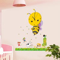 Wholesale paper bees - Wholesale- 3D DIY Cartoon Wall Clock modern design Bee Sticker  clocks with wall paper decoration for living room bedroom home decor