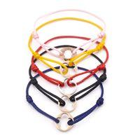 bracelet en feuille achat en gros de-Mode Marque Femmes Feuille Trèfle Bracelet Corde À La Main Chaîne Bracelet Charme Titanium Acier Inoxydable trois cercles Carter