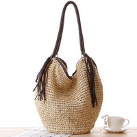 Wholesale Korean Straw Beach Bags - Wholesale-2016 New Fashion Simple Casual Style Bag New Summer Handbag Woven Straw Beach Bags Women Brand Tassel Handbag ZD233
