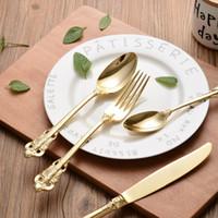 Wholesale Steel Table Spoons - Stainless Steel Cutlery Gold Plated Flatware Set Golden Table Fork Spoon Knife Dessert Spoon Western Dinnerware Tableware 24pcs