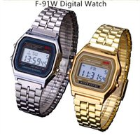 Wholesale Gifts F - Luxury F-91W Digital Watches Ultra Thin LED Wrist Watches Stainless Steel F91W Electronic Led Watch Students Christmas Gift Watches