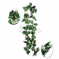 künstliche weiße blumen girlande großhandel-Hochzeit 10 stücke Los Künstliche Big Leaf Weiße Traube Ivy Leaf Garland Pflanzen Vine Gefälschte Laub Blumen Hochzeit Hauptdekorationen 7,5 Füße