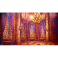 Wholesale photography backdrops interiors online - Digital Printed Interior Castle Photo Backdrop Gold Chandelier Purple Curtains Window Prom Birthday Party Princess Photography Backgrounds