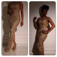 Wholesale Sleeve Rhinestone Beaded Dress - Yousef Aljasmi 2016 Gold Sequins Crystal Rhinestone Saudi Arabia Evening Dresses Split Side Dubai Prom Celebrity Dress Vestidos de Festa