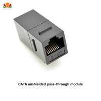 Wholesale Ide Adapters - Wholesale- CAT6 unshielded pass-through module Gold-plated UTP network module RJ45 connector Cable adapter Keystone Jack