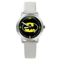 Wholesale Batman Leather Watches - 2017 Batman Movie Fashion Batman Logo Watch Quartz Leather Band Watches Womens Ladies Girls Fashion Watch Free DHL for 50 pcs Up
