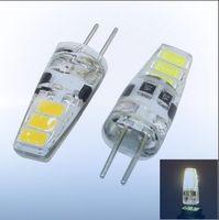 Wholesale 12v Mini Led Bulbs - 2017 DC12V G4 1.5w mini led bulb 6leds SMD5730 LED corn bulb White warm white light lamp with silicon body for chandeliers,CE,RoHS