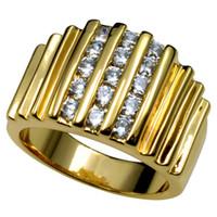 Wholesale Wide Wedding Bands - R117 SZ8-15 18k Gold Filled Lab Diamond Wide Band Men Engagement Wedding ring