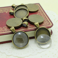 Wholesale Sweet Bell Antique Bronze Metal Alloy mm Round Pendant Cabochon Settings Clear Glass Cabochons A4221