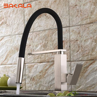 Wholesale BAKALA Kitchen Faucet Mixer Tap single hand kitchen tap mixer brass Black PVC hose