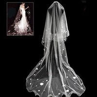 Wholesale Cheap Hair Nets - New Romantic 3-Meters Long White Cathedral Wedding Veil 1 Layer Tulle with Appliques Cheap Bridal Hair Accessories CPA909