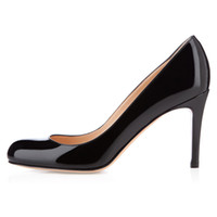 bomba dedo do pé fechado preto venda por atacado-Karmran mulheres handmade moda simples bombas 85mm fechado toe high heel baile evening dress shoes preto z626