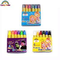 Wholesale Uv Body Paints - Wholesale- Mini Body Paint Crayons Pearl Neon Fluorescent Maquiagem Makeup Kids Face Paint Pigment UV Glow Painting 6 Colors Set Body Art