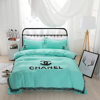 Wholesale Fashion Style Bedding - New fashion Nordic lace lace alphabet bedding 4 pcs of solid color small fresh home textiles