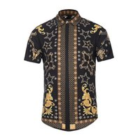 Wholesale Building Clothes - Mens summer clothing short sleeve 3D shirt 2017 mode floral printed fashion designer compression shirts body building short sleeve shirt D20