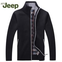 ingrosso jeep sweaters-Afs JEEP nuovi uomini di autunno di arrivo di maglioni caldi caldo inverno Pullover Mens maglioni casual Maglieria pile di velluto Abbigliamento 60